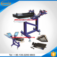 3 color manual rotary textile screen printing machine for t-shirt printing