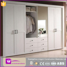 mdf lacqure louver door wardrobe in white