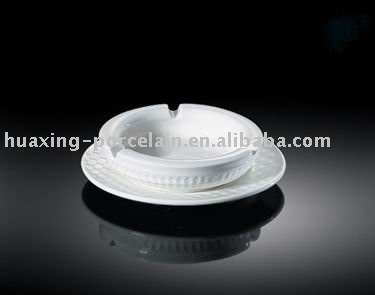 H2213 eco friendly round shape custom ashtray porcelain with saucer