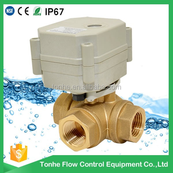 3 way electric water control valve mini motorized valve with manual