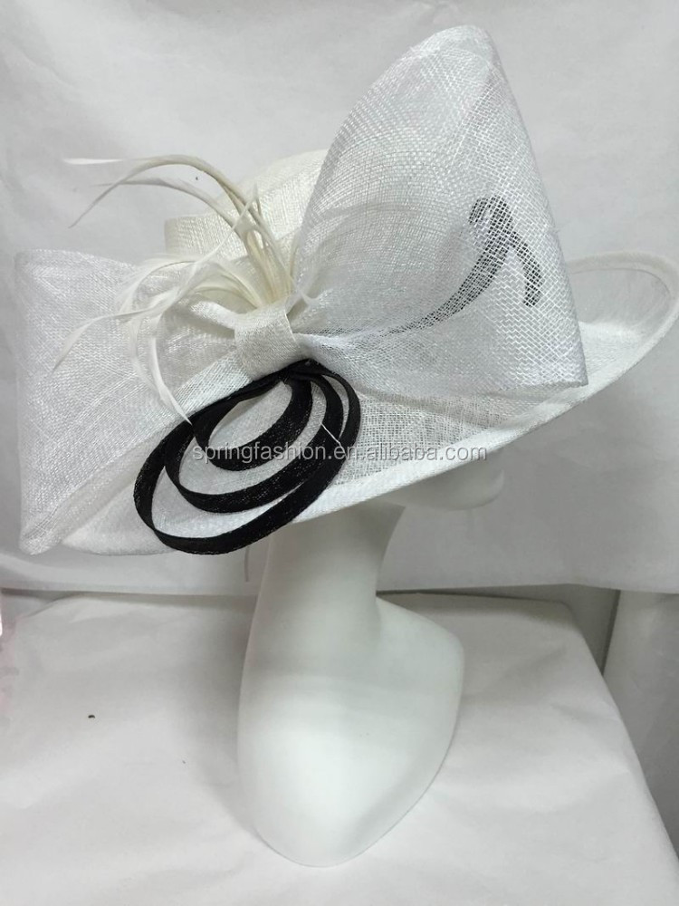 Sinamay/Church/Derby/Kentucky/Wedding hat-white/black