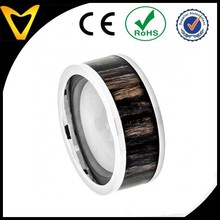 Professional Titanium Ring Manufacturer 9mm Titanium Wedding Band Ring Pipe Cut with African Blackwood Inlay