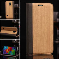 Factory price hot sell wood grain leather case for Samsung S5