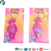 F J brand wholesale soft pvc keychain charm custom kids cartoon rubber key chain