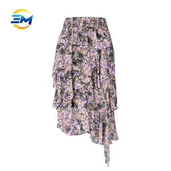 Custom women floral print layered elastic waist ruffle skirt viscose asymmetric hem pleated dress
