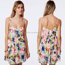 Baby pink hibiscus flowers tropical short skater dress