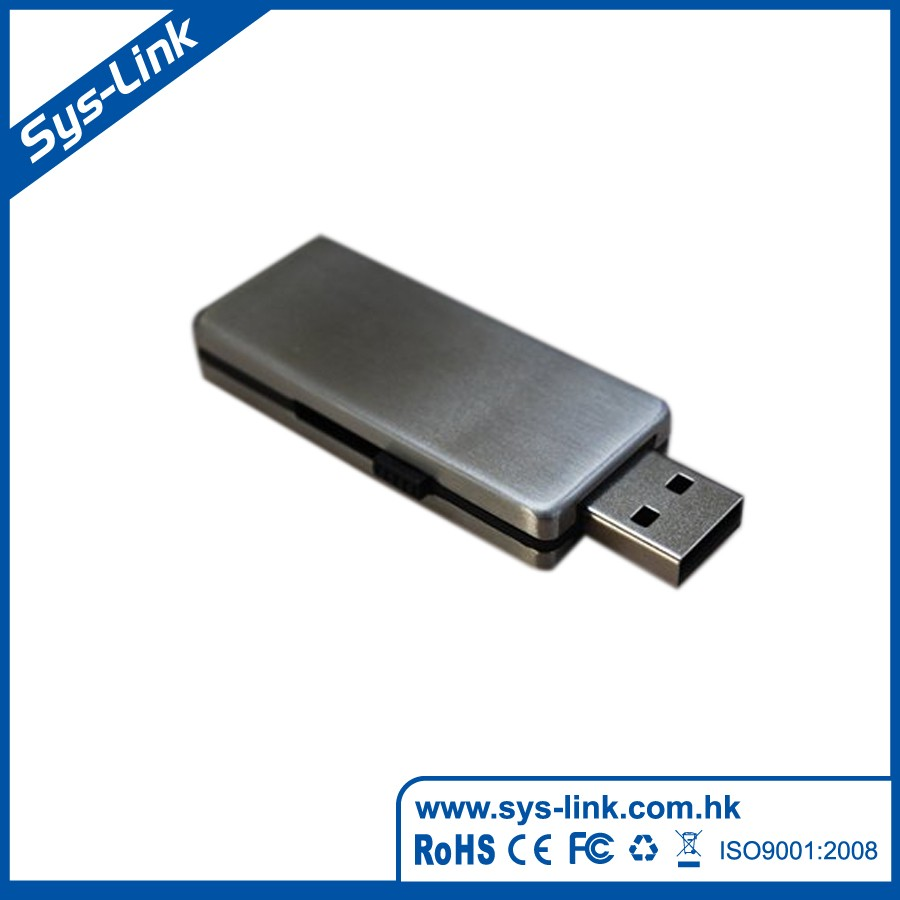 Retractable plug metal ase USB Flash Drive
