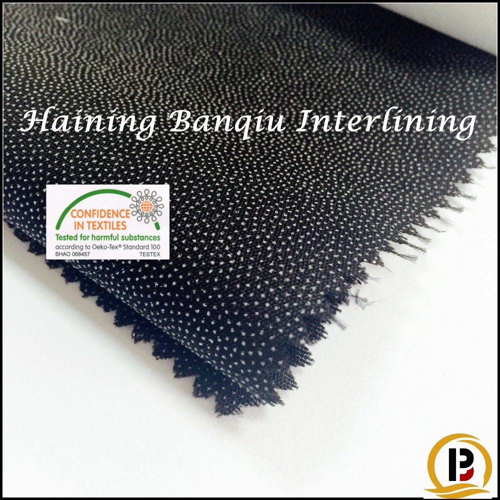 China supplier cloth raw material100 Polyester resin woven fusible interlining fusing fabric for men's suit/shirt's (#SZ731515)