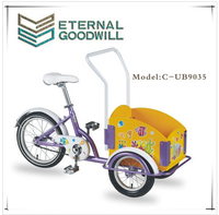 2015 hot sales popular kids bikes new cargo tricycle with two front wheels three wheel