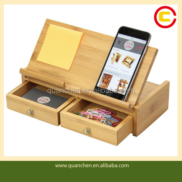 Chic portable desktop office wood desk organizer with Drawers