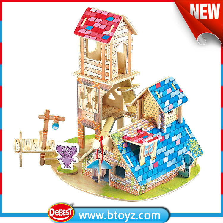 toys 2015 children toys Wooden wooden dollhouse furniture with animal