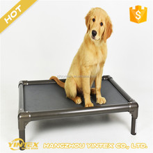Travel Outdoor taking pet bed elastic knitted fabric metal legs summer cool cheap raised dog bed for sale