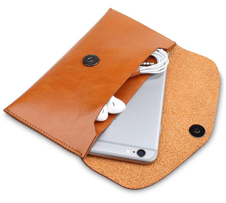 Magnetic button custom mobile phone pouch