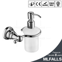 Mlfalls chrome wall mounted bathroom toilet soap dispenser with glass