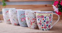 ceramic V-Shape coffee mug tea cup with flower decal