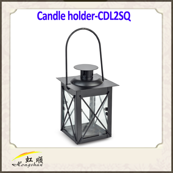 Black Clear Pane Hurricane candle lantern , Candle Lanterns