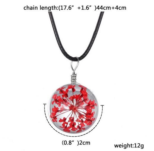 NEW Fashion Transparent Crystal Ball Glass Dried Flower Leather Necklace Pendant Jewelry