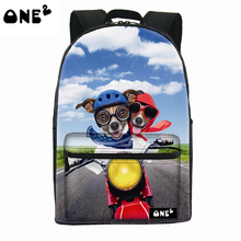 ONE2 design printed 600D polyester kids school backpack with friendly dog