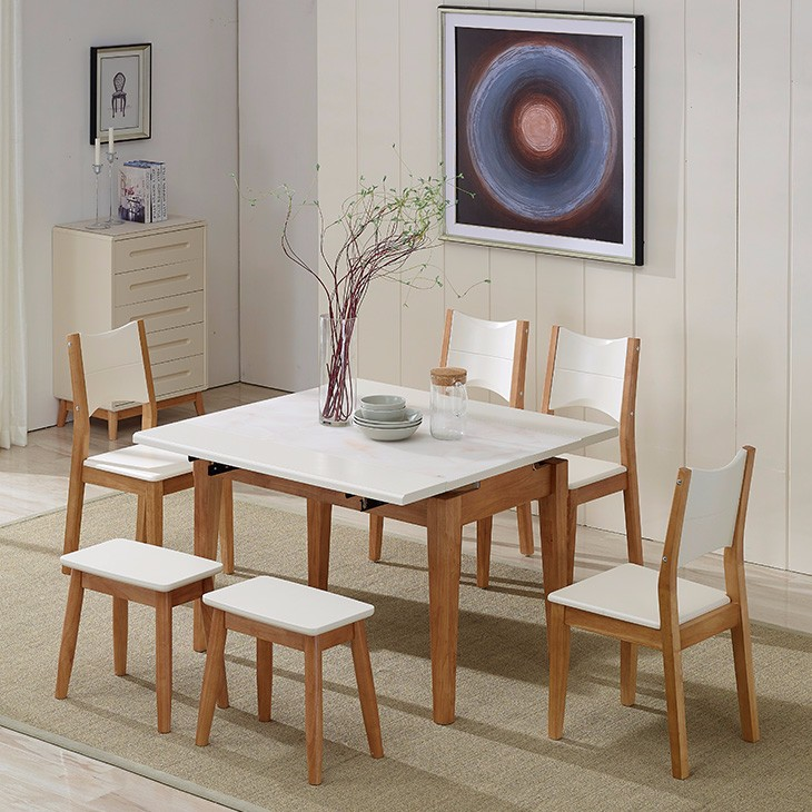 Home furniture wood dining sets glass hideaway dining table and chairs