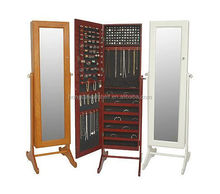 Floor Standing Mirror Jewelry Cabinet, Mirrored Jewelry Armoire