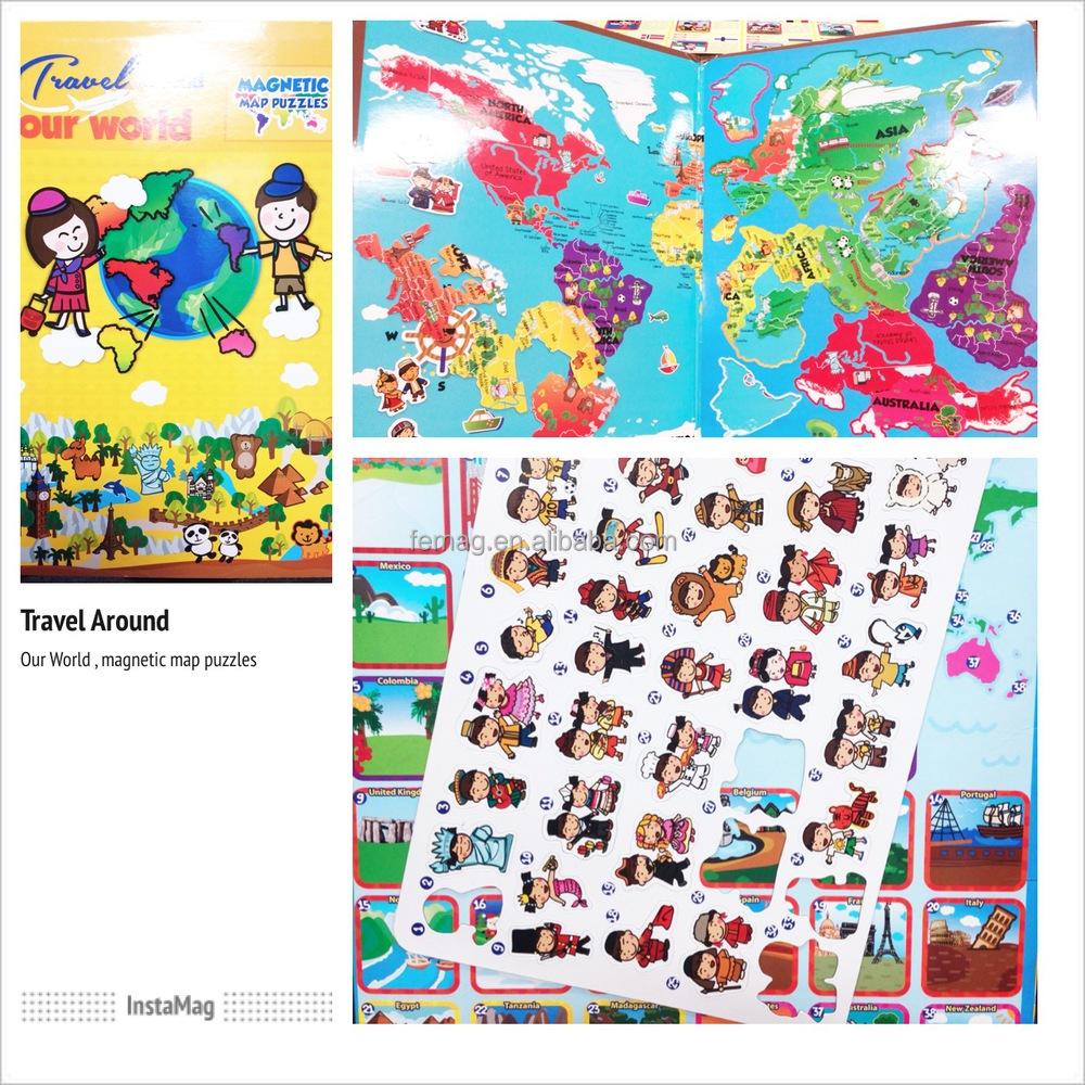 E1010 wholesales top quality for student and teacher at school magnetic learning world map puzzle resources