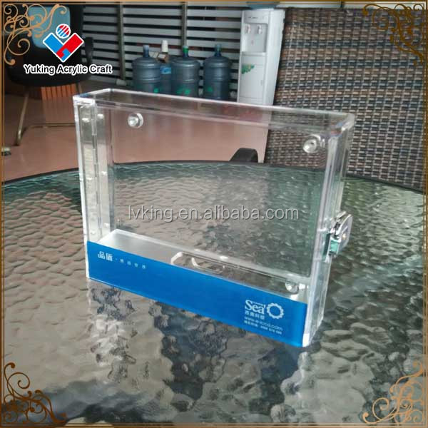 high quality transparent acrylic box with lock,fingerprinted attendance machine acrylic box