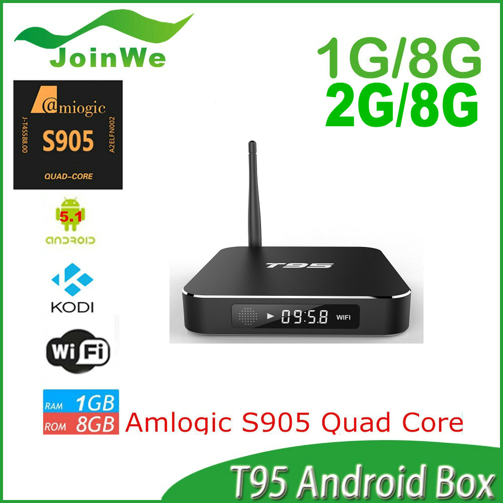 Factory price 2015 newest T95 Android 5.1 Lollipop smart TV Box Quad Core Amlogic S905 OTT TV Box with 1GB RAM 8GB ROM