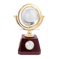 Personalized clock with wooden stand crystal globe clock