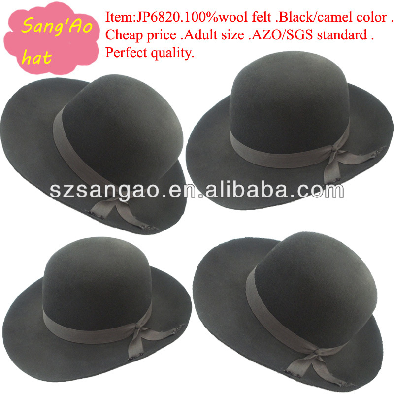 Small wholesale black bowler head wool church hats large casual lana female caps100%wool felt as alpine/peak hats/caps/for suit