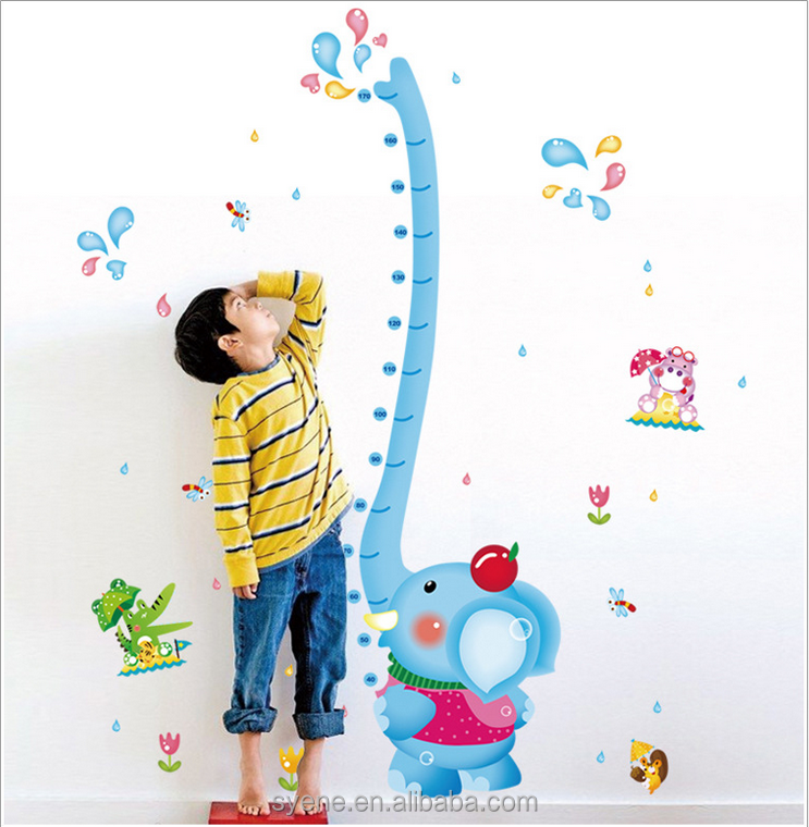 Hot cartoon animal Elephant height measurement wall stickers decal art pvc growth chart wall sticker for kids baby room Syene