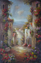 Popular Art works hand-painted Garden path decorative landscape oil painting on canvas