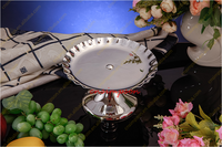 Silvery round metal tray for wedding serve decoration