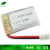 high rate li-polymer battery 702030 3.7v with 300mah rechargeable lipo battery packs