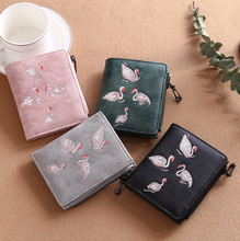 Crane pattern Embroidered Frosted Lady short wallet/Retro style Grain leather Zipper coin pocket Lady wallet #858
