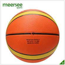 Full size 12 panels official size 7 orange&yellow natural rubber basketball