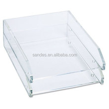 New Arrival! 2 Tier Retangular Acrylic Desk A4 File Tray Paper Storage Holder