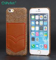 High Quality mobile cover for phone PC+PET Material Hard shell Plastic phone case with leather card bag for iPhone 6