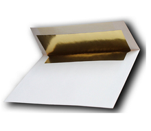 "Gold Foil-Lined 70lb. White A7 Envelopes (25 Pack) for 5"" X 7"" Weddings Invitations Announcements from The Envelope Gallery"