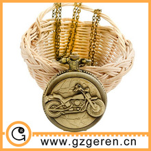 D01271o Big Bronze Antique Motorbike Relief Pattern Pendant China Pocket Watch