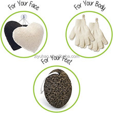 Exfoliating Set 2 Pairs Body Wash / Scrub Gloves, 2 Konjac Face Sponge White / Charcoal, 1 Pumice Lava Stone