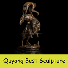 Casting Bronze Life Size Man and Horse and Goat Metal Statue Sculpture