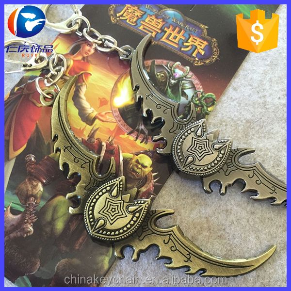 Bist kids birthday gifts hot online RPG game Word of Warcraft keyring Metal keyrings