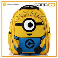 Despicable me school bag wholesale for child, Free sample kids cartoon picture of school bag