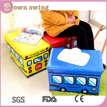 School Bus Kids Toy Box Storage Container Stool with Lid/Folding Ottoman Organizer Bin