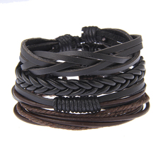 YWMT 2018 Wholesale Fashion Wooden Beads Ship's Anchor Faith Friendship Braided Black Leather Bracelet Men