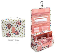 6 colors can choose wholesale portable foldable hanging travel cosmetic bag