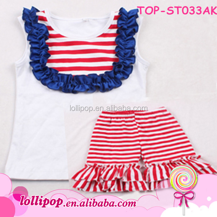 2016 overstock clearance 2 pcs stripes ruffle outfits baby designer kids wear images for child