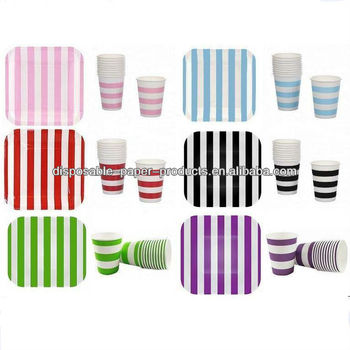 Stripe Style Party Supplies, Candy Stripe Paper Party Dish Square Dessert Plates Stripe party Cups For Birhday Party, wedding