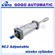 Double shaft double acting pneumatic piston cylinder / adjustable stroke pneumatic cylinder