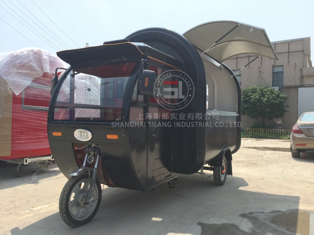 SILANG SL-9 Electric Motorized food truck mobile black food trucks mobile fryer food cart for sale in china
